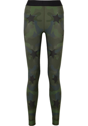 Ultracor - Knockout Appliquéd Camouflage-print Stretch Leggings - Army green