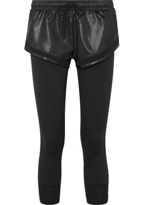 adidas by Stella McCartney - Performance Essentials Layered Glossed-shell And Stretch Leggings - Black