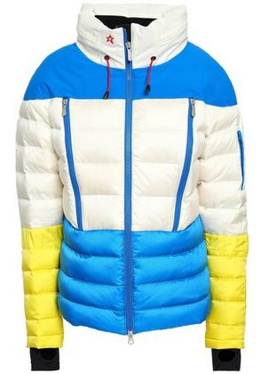 Perfect Moment Woman Color-block Quilted Shell Hooded Jacket White Size L