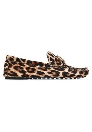 Tory Burch Woman Embellished Printed Calf Hair Loafers Animal Print Size 5