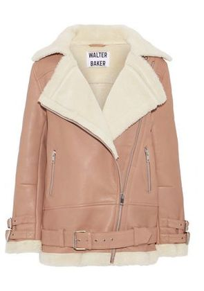 W118 By Walter Baker Woman Adele Faux Shearling-trimmed Leather Jacket Antique Rose Size XS