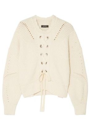 Isabel Marant Woman Lacy Lace-up Ribbed Cotton-blend Sweater Cream Size 38