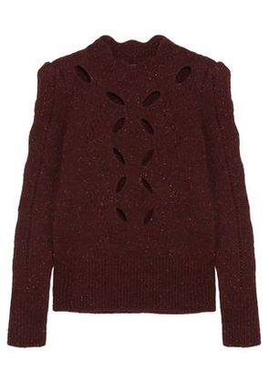 Isabel Marant Woman Cutout Knitted Sweater Burgundy Size 42