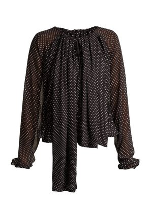 Loewe - Polka Dot Ruched Blouse - Womens - Black White