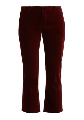 Saint Laurent - Cropped Kick Flare Velvet Trousers - Womens - Burgundy