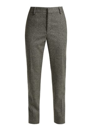 Saint Laurent - Prince Of Wales Check Wool Trousers - Womens - Black Grey