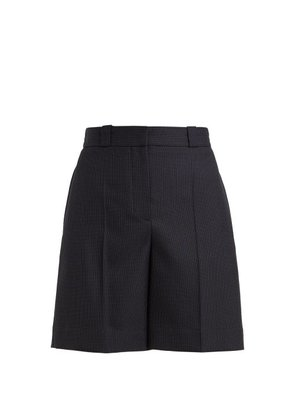Burberry - Pin Dot Tailored Wool Shorts - Womens - Blue