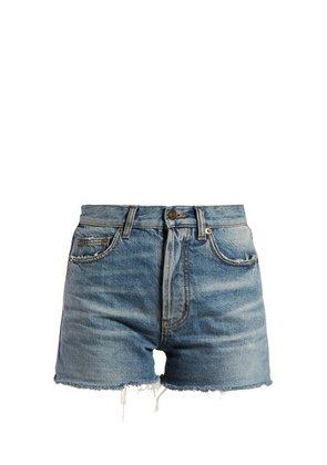 Saint Laurent - Raw Hem Denim Shorts - Womens - Denim