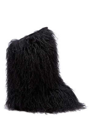 Saint Laurent - Shearling And Leather Knee High Moon Boots - Womens - Black