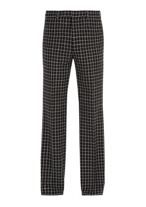 Givenchy - Checked Wool Blend Trousers - Mens - Black White