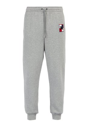 Burberry - Logo Embroidered Cotton Track Pants - Mens - Grey