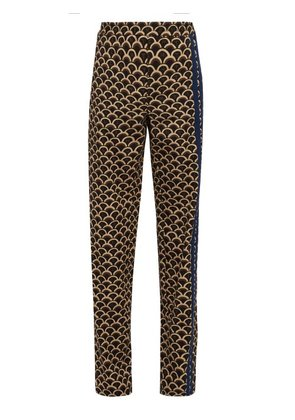 Valentino - Scale Print Wool Track Pants - Mens - Brown