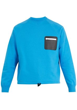 Valentino - Leather Zip Patch Sweater - Mens - Blue