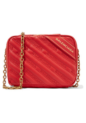Balenciaga - Blanket Reporter Xs Printed Quilted Leather Shoulder Bag - Red