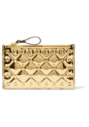 Valentino - Valentino Garavani The Rockstud Spike Embossed Mirrored-leather Cardholder - Gold
