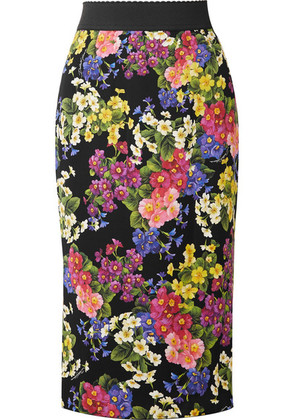 Dolce & Gabbana - Printed Silk-blend Pencil Skirt - Black