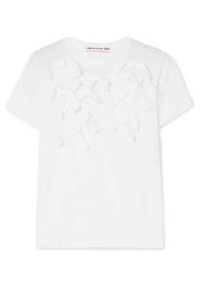 Comme des Garçons GIRL - Bow-embellished Cotton-jersey T-shirt - White