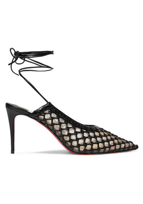 Christian Louboutin - + Roland Mouret Cage And Curry Mesh And Woven Leather Pumps - Black