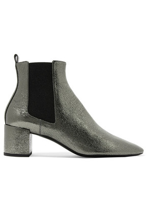 Saint Laurent - Lou Metallic Cracked-leather Ankle Boots - Silver