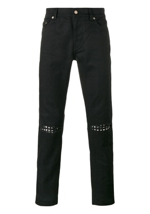Saint Laurent ripped stud slim fit jeans - Black
