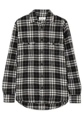 Saint Laurent - Checked Crinkled Cotton-flannel Shirt - Black