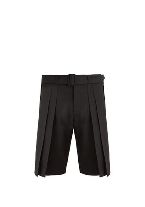 Saint Laurent - Belted Wide Pleated Wool Shorts - Mens - Black